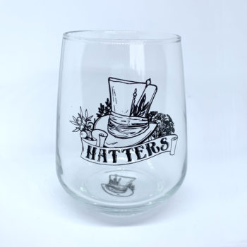 Stemless gin glass with Hatters logo